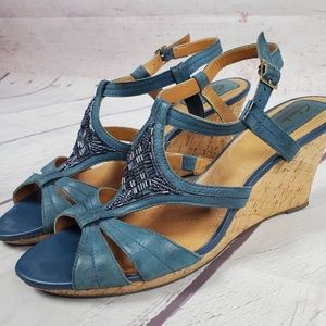 Clark's Bendable Wedge Heel Teal/Blue Sandal